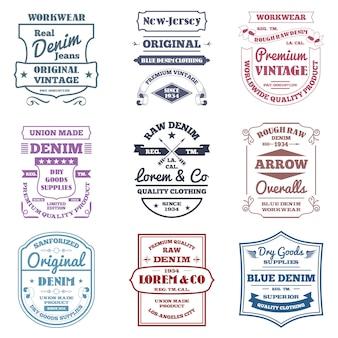 Emblemas de tipografia de jeans