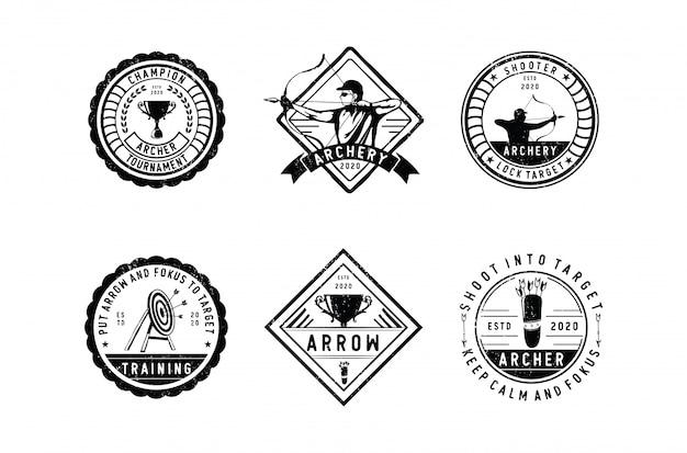 Emblemas de tiro com arco com uma variedade de estilos de design