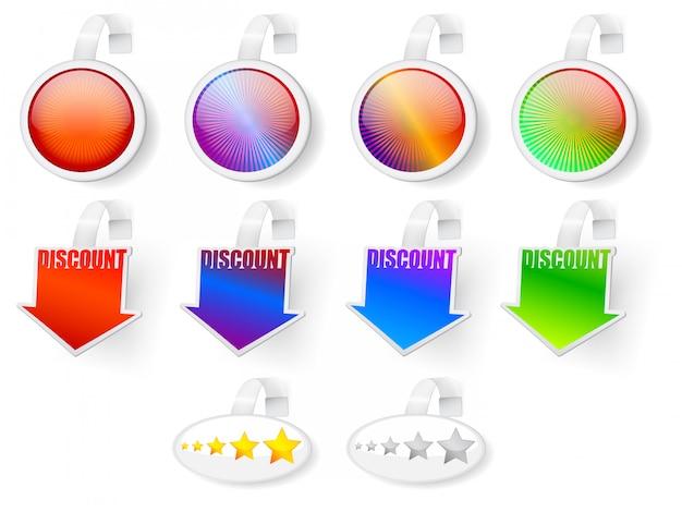 Emblemas de venda, classificação e desconto