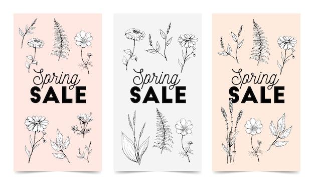 Emblemas de venda colorida e floral