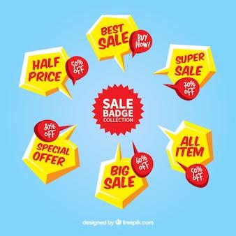 Emblemas de venda com design plano