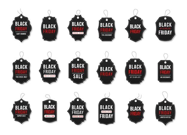 Emblemas de venda de fitas, banners, etiquetas de preços, coleção de novas ofertas em preto