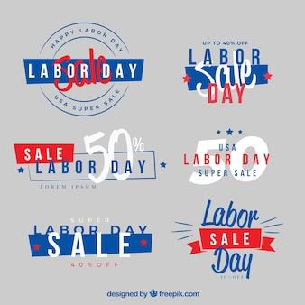 Emblemas de venda do dia do trabalho com a bandeira americana