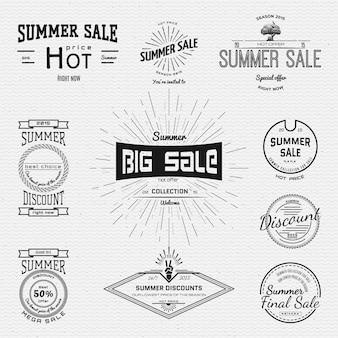 Emblemas de venda e descontos de verão