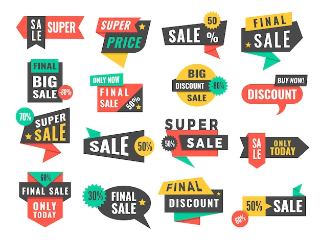 Emblemas de venda. ofertas de etiquetas promocionais de publicidade e conjunto de imagens com grande desconto