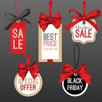 Emblemas de venda ou coleção de etiqueta de preço com fita vermelha
