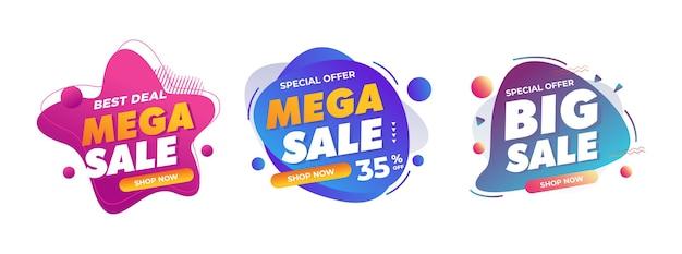 Emblemas de venda para promoção de loja online offline sinal de desconto