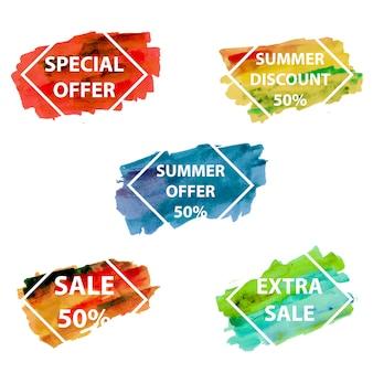 Emblemas de venda splatter aquarela