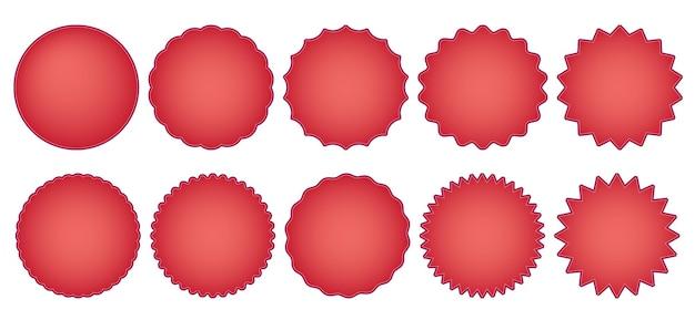 Emblemas de venda vermelhos redondos de vetor ou adesivos de desconto com rótulos e placas promocionais