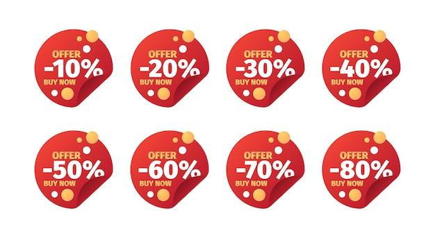 Emblemas de vendas. banners promocionais com números e descontos de 10% no preço - 50 de 70 ofertas especiais - design de emblema de vetor. oferta de desconto em etiqueta, ilustração de comércio de compras