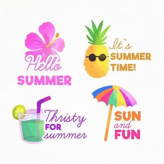 Emblemas de verão em aquarela