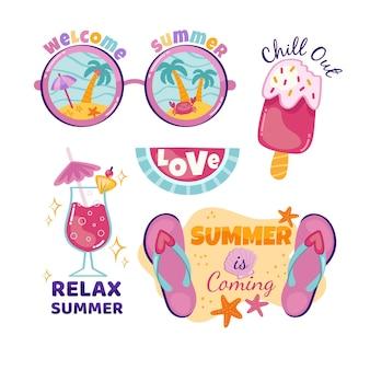 Emblemas de verão mão desenhada