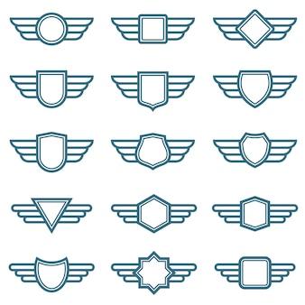 Emblemas de vetor de exército de asas de águia. rótulos de asa de aviação. emblemas piloto alados
