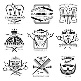 Emblemas de vetor de loja de barbeiro retrô. rótulos de salão de corte de cabelo moderno e emblemas de cabeleireiro