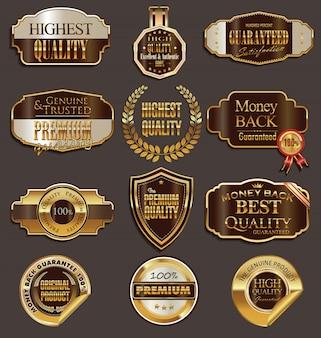 Emblemas de vetor de ouro e marrom selo conjunto