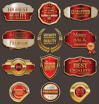 Emblemas de vetor de ouro e vermelho selo conjunto