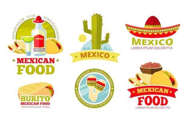 Emblemas de vetor de restaurante mexicano salsa comida