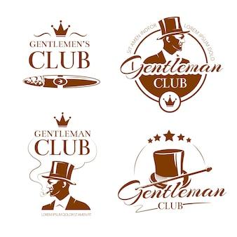 Emblemas de vetor vintage cavalheiro clube, etiquetas, emblemas. ilustração do homem da moda, clássico de elite