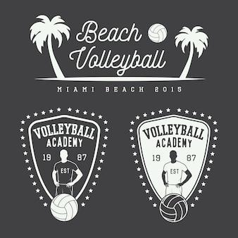 Emblemas de voleibol vintage e logotipo.
