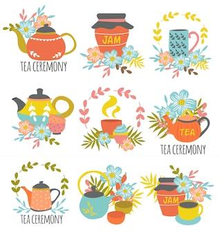 Emblemas desenhados à mão de cerimônia de chá