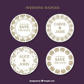 Emblemas do casamento arredondados