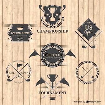 Emblemas do clube de golfe retros
