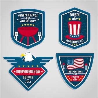 Emblemas do dia da independência de design plano eua