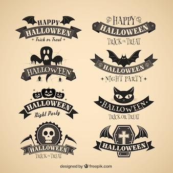 Emblemas do dia das bruxas escuro