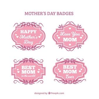 Emblemas do dia das mães com folhas cor-de-rosa