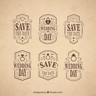 Emblemas do dia do casamento ornamentais no estilo do vintage