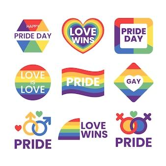 Emblemas do dia do orgulho com conjunto de bandeira