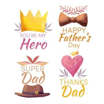 Emblemas do dia dos pais em aquarela