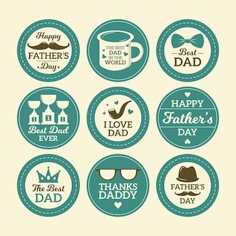 Emblemas do dia dos pais em design plano