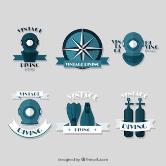 Emblemas do esporte de mergulho do vintage no design plano