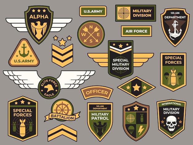 Emblemas do exército. conjunto de remendo militar, sinal de capitão da força aérea e emblemas de insígnia de para-quedista