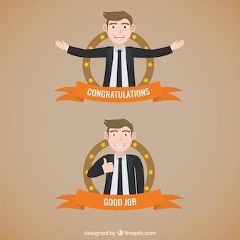 Emblemas do homem de negócios
