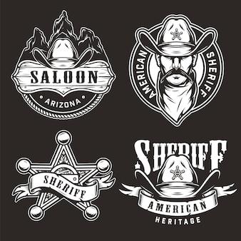 Emblemas do oeste selvagem monocromático