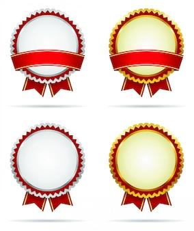Emblemas do prêmio de ouro e prata