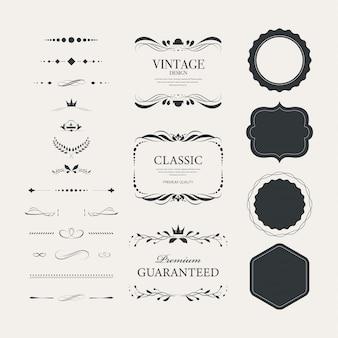 Emblemas do vintage ajustados com luxo decorativo do ornamento.