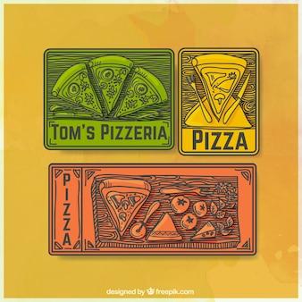 Emblemas do vintage conjunto de pizza