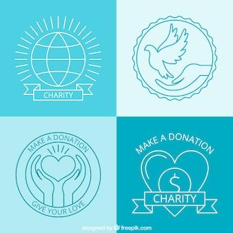 Emblemas doação desenhados mão