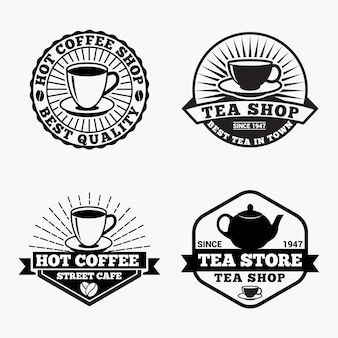 Emblemas dos logotipos do café do chá