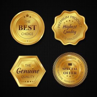 Emblemas dourados de metal