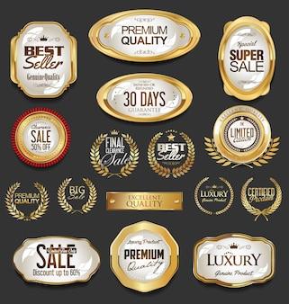 Emblemas dourados e etiquetas com coroa de louros