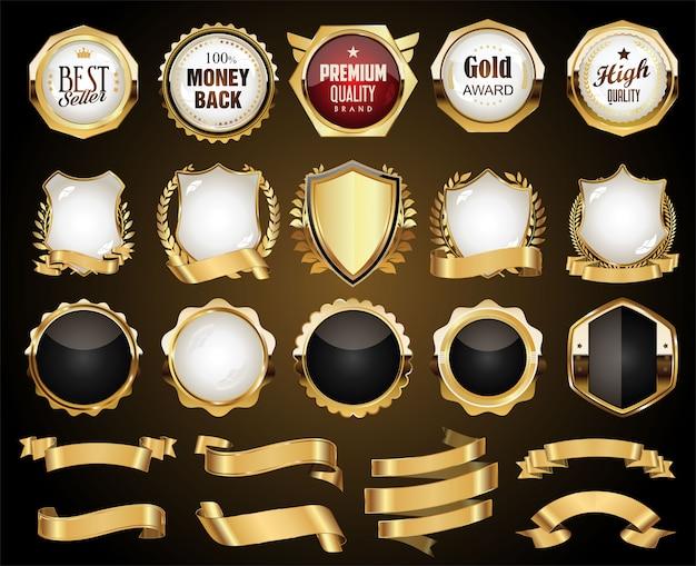 Emblemas dourados etiquetas escudos e coleção de coroas de louros