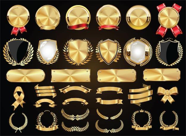 Emblemas dourados vintage retrô rotulam escudos e fitas