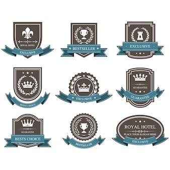 Emblemas e distintivos com coroas e fitas - prêmio