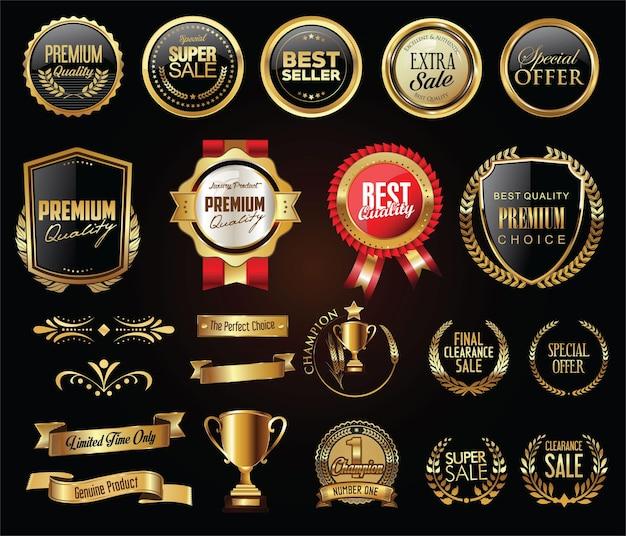 Emblemas e etiquetas de luxo com coleção de ouro e prata com coroa de louros