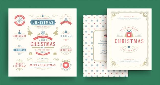 Emblemas e etiquetas de natal conjunto com modelo de cartão de saudação.