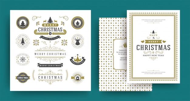 Emblemas e etiquetas de natal vector conjunto de elementos de design com o modelo de cartão de saudação.